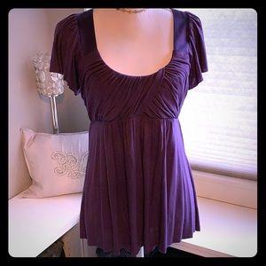 Purple U-neckline Drape Top w/ Flutter Sleeve - M